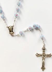 Catholic rosary 7mm lt. blue lamp bead