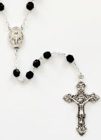 Catholic rosary fp 7mm jet STR52