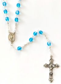 Catholic rosary aqua ab 6mm locklink