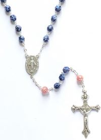 Catholic rosary FP 7mm lue luster pink lamp
