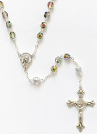 Catholic rosary FP 7mm vacuum plated with capped blue pearl OFB