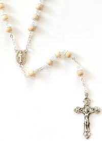 Catholic rosary wooden 6mm capped